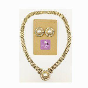 Jewelry - Elegant Rhinestone & Faux Pearl Necklace Earrings